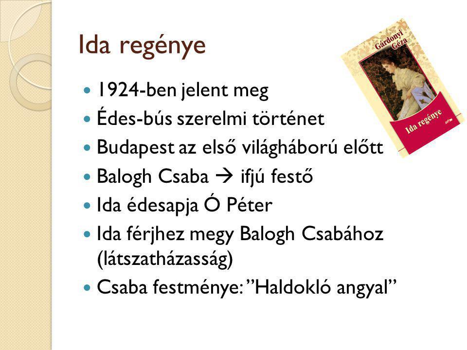 Ida regénye 1924-ben jelent meg Édes-bús szerelmi történet Budapest az első világháború előtt Balogh Csaba  ifjú festő Ida édesapja Ó Péter Ida férjhez megy Balogh Csabához (látszatházasság) Csaba festménye: Haldokló angyal