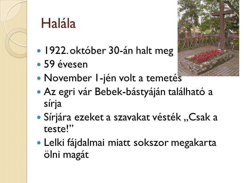 Halála 1922. október 30-án halt meg 59 évesen November 1-jén volt a temetés Az egri vár Bebek-bástyáján található a sírja Sírjára ezeket a szavakat vé