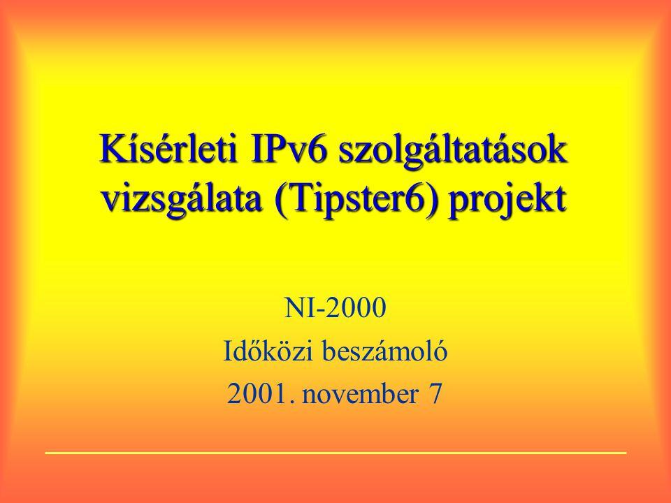 Kísérleti IPv6 szolgáltatások vizsgálata (Tipster6) projekt NI-2000 Időközi beszámoló 2001.