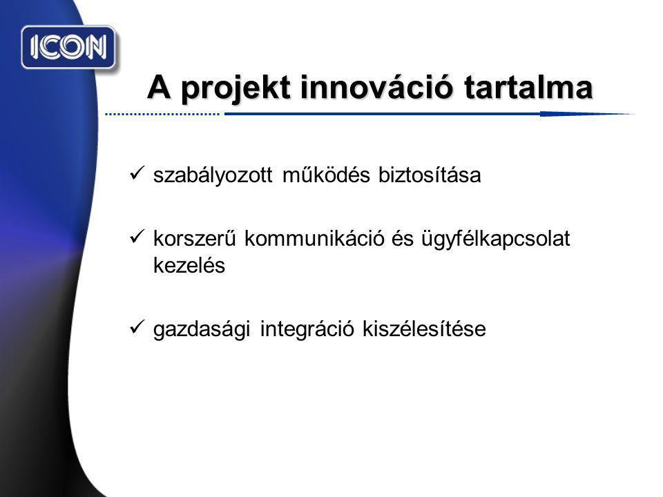 A projekt innováció tartalma szabályozott működés biztosítása korszerű kommunikáció és ügyfélkapcsolat kezelés gazdasági integráció kiszélesítése