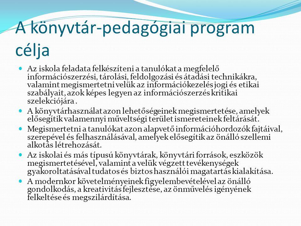 A könyvtár-pedagógiai program célja Az iskola feladata felkészíteni a tanulókat a megfelelő információszerzési, tárolási, feldolgozási és átadási tech