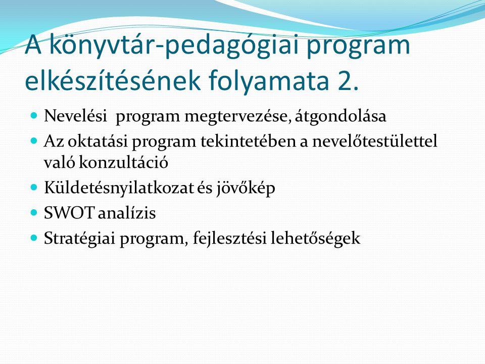 A könyvtár-pedagógiai program elkészítésének folyamata 2. Nevelési program megtervezése, átgondolása Az oktatási program tekintetében a nevelőtestület