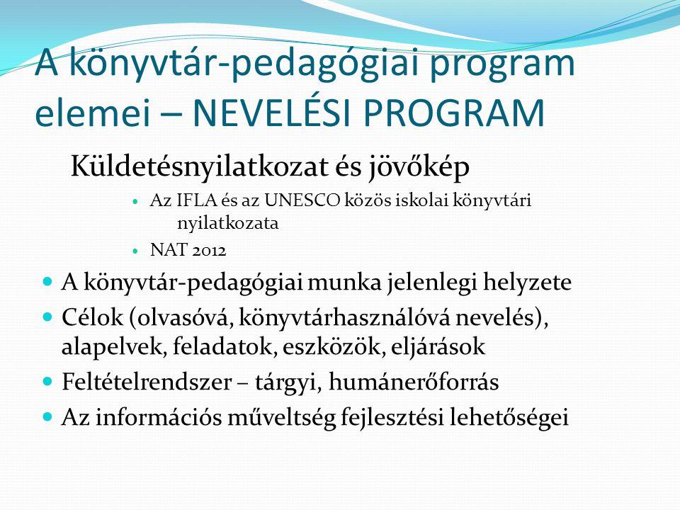A könyvtár-pedagógiai program elemei – NEVELÉSI PROGRAM Küldetésnyilatkozat és jövőkép Az IFLA és az UNESCO közös iskolai könyvtári nyilatkozata NAT 2