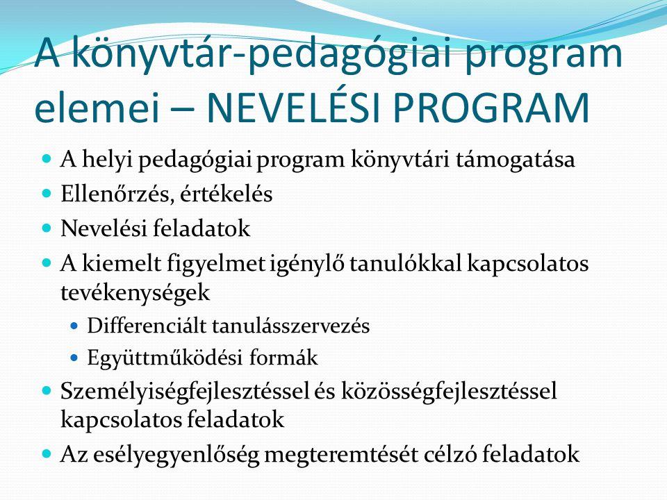 A könyvtár-pedagógiai program elemei – NEVELÉSI PROGRAM A helyi pedagógiai program könyvtári támogatása Ellenőrzés, értékelés Nevelési feladatok A kie