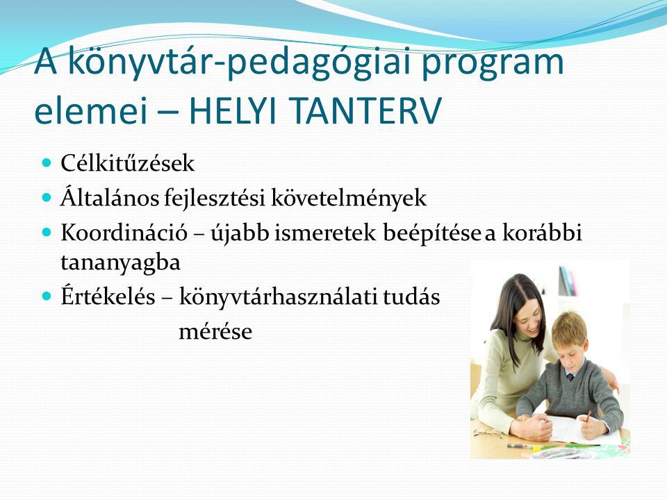 A könyvtár-pedagógiai program elemei – HELYI TANTERV Célkitűzések Általános fejlesztési követelmények Koordináció – újabb ismeretek beépítése a korább
