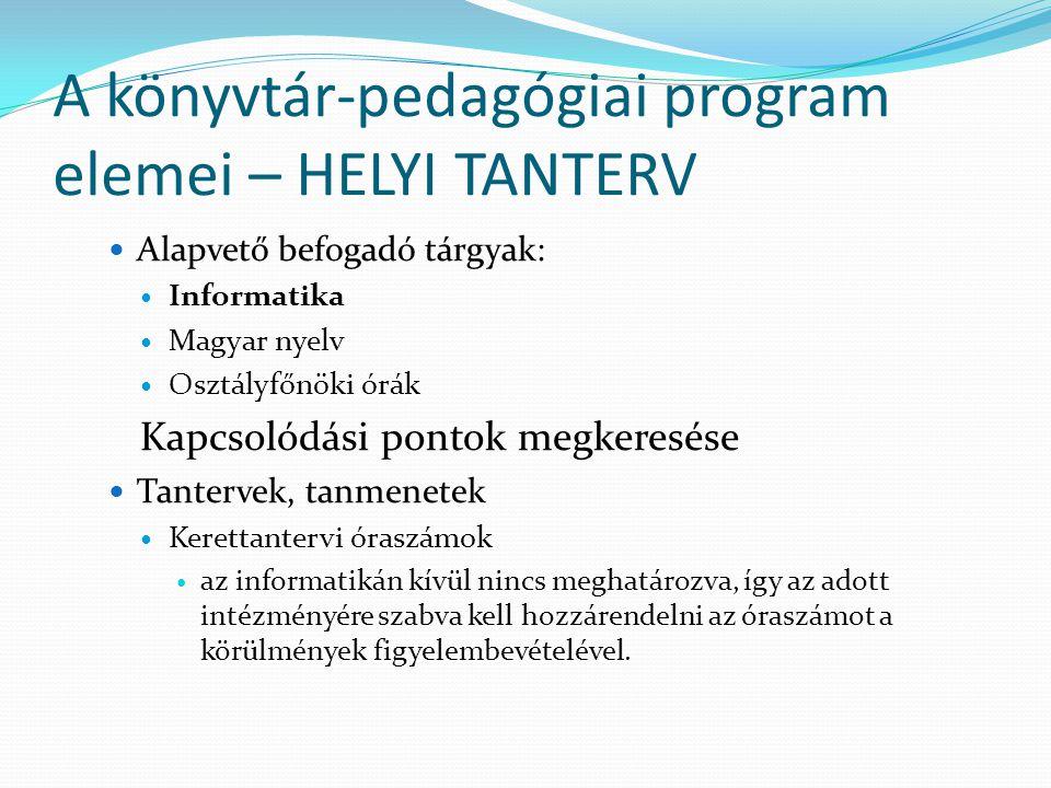 A könyvtár-pedagógiai program elemei – HELYI TANTERV Alapvető befogadó tárgyak: Informatika Magyar nyelv Osztályfőnöki órák Kapcsolódási pontok megker