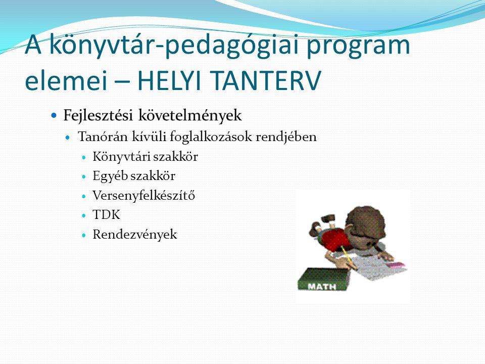 A könyvtár-pedagógiai program elemei – HELYI TANTERV Fejlesztési követelmények Tanórán kívüli foglalkozások rendjében Könyvtári szakkör Egyéb szakkör