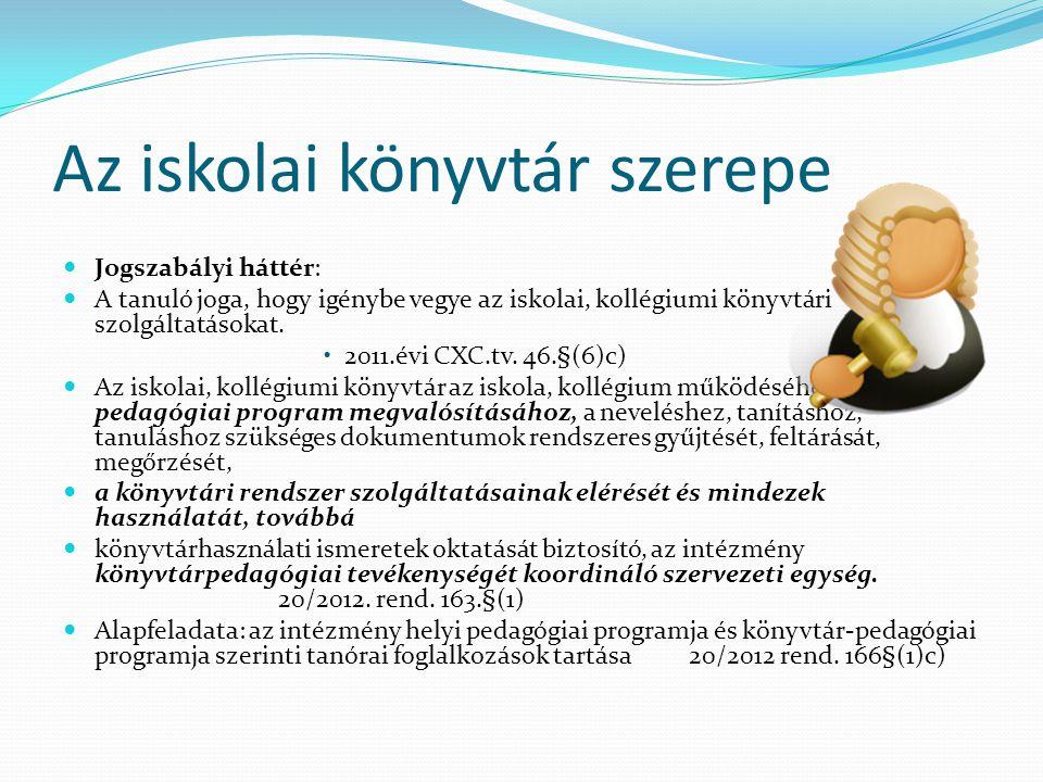 Az iskolai könyvtár szerepe Jogszabályi háttér: A tanuló joga, hogy igénybe vegye az iskolai, kollégiumi könyvtári szolgáltatásokat. 2011.évi CXC.tv.