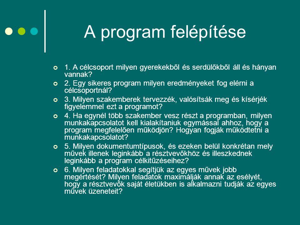 A program felépítése 1. A célcsoport milyen gyerekekből és serdülőkből áll és hányan vannak? 2. Egy sikeres program milyen eredményeket fog elérni a c