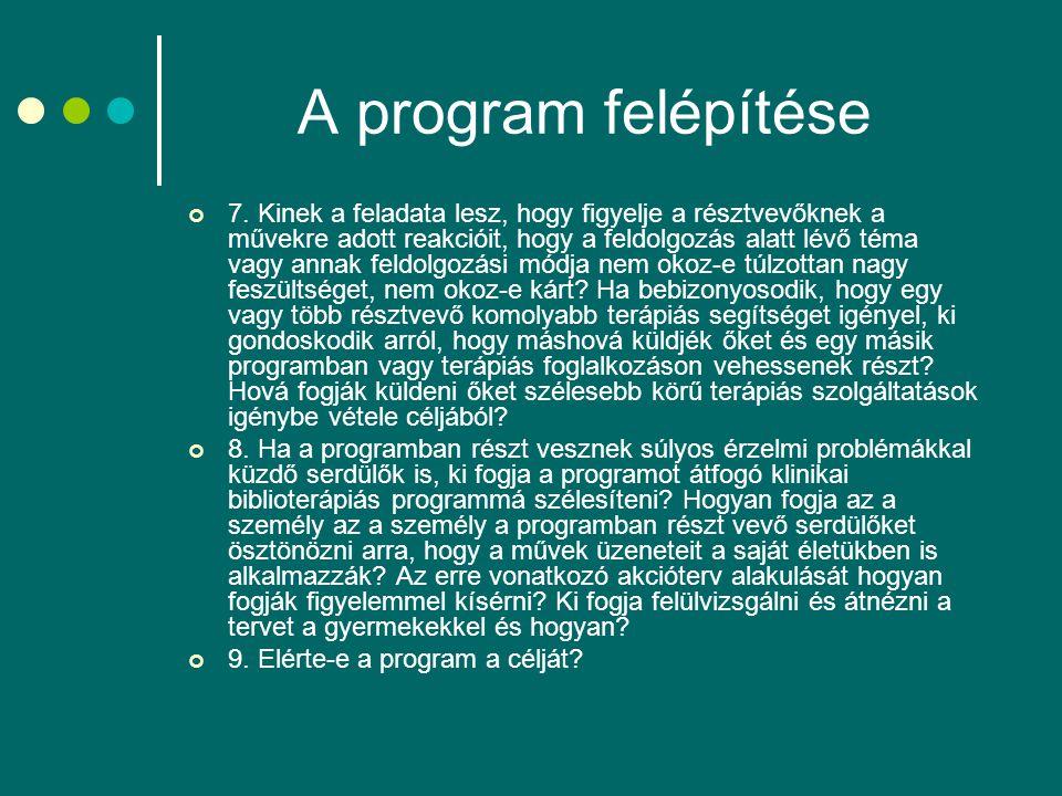 A program felépítése 7. Kinek a feladata lesz, hogy figyelje a résztvevőknek a művekre adott reakcióit, hogy a feldolgozás alatt lévő téma vagy annak