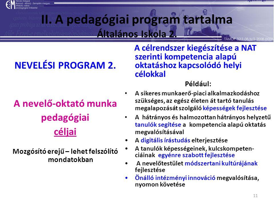 11 II. A pedagógiai program tartalma Általános Iskola 2. NEVELÉSI PROGRAM 2. A nevelő-oktató munka pedagógiai céljai Mozgósító erejű – lehet felszólít