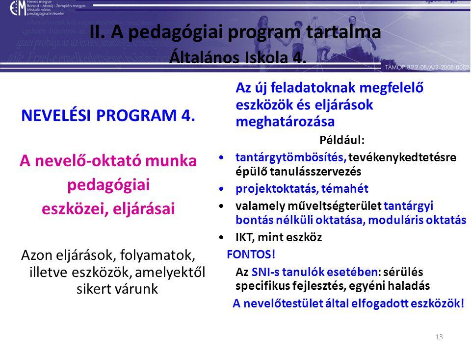 13 II. A pedagógiai program tartalma Általános Iskola 4. NEVELÉSI PROGRAM 4. A nevelő-oktató munka pedagógiai eszközei, eljárásai Azon eljárások, foly