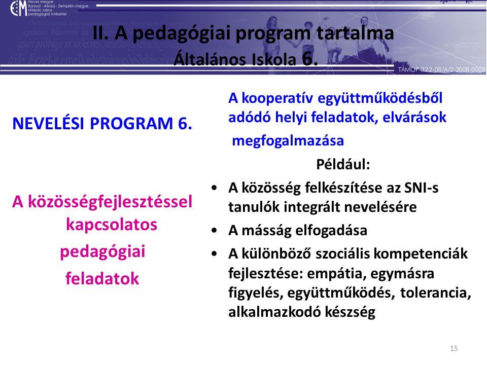 15 II. A pedagógiai program tartalma Általános Iskola 6. NEVELÉSI PROGRAM 6. A közösségfejlesztéssel kapcsolatos pedagógiai feladatok A kooperatív egy