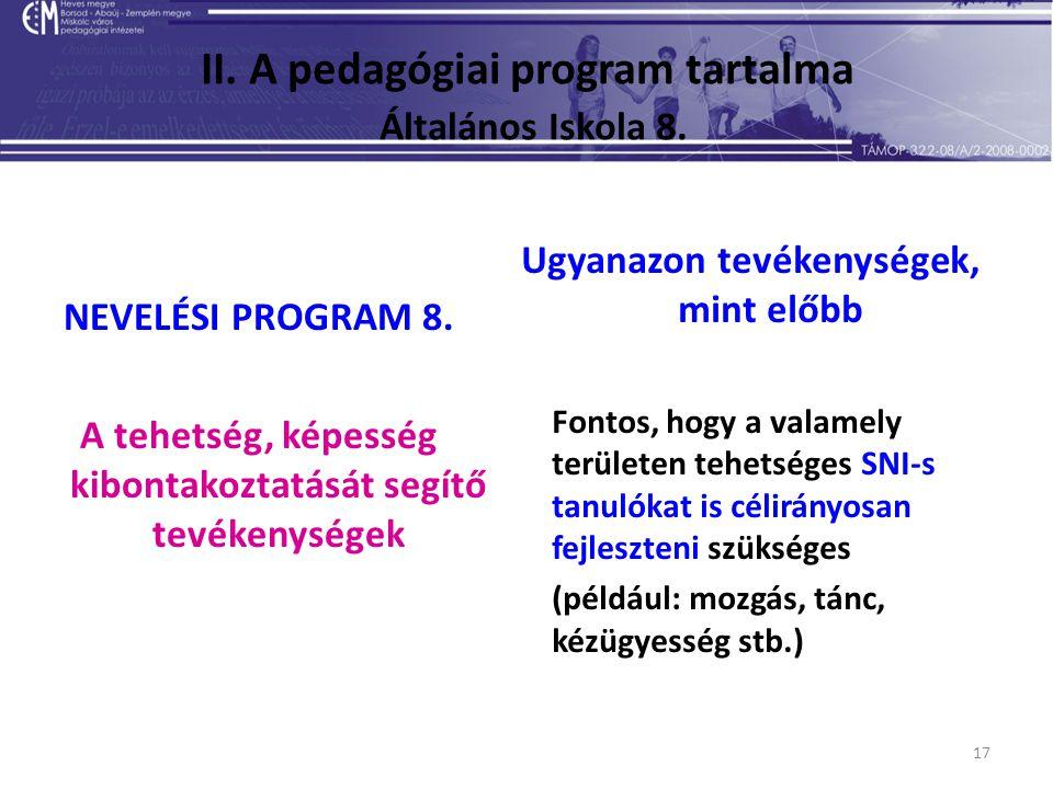 17 II. A pedagógiai program tartalma Általános Iskola 8. NEVELÉSI PROGRAM 8. A tehetség, képesség kibontakoztatását segítő tevékenységek Ugyanazon tev