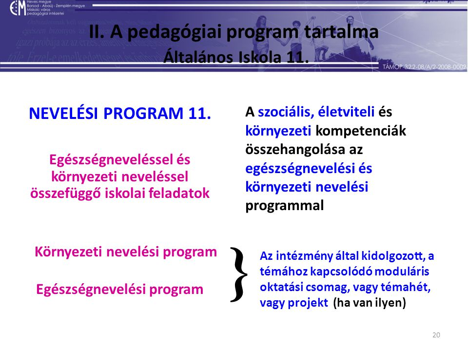 20 II. A pedagógiai program tartalma Általános Iskola 11. NEVELÉSI PROGRAM 11. Egészségneveléssel és környezeti neveléssel összefüggő iskolai feladato