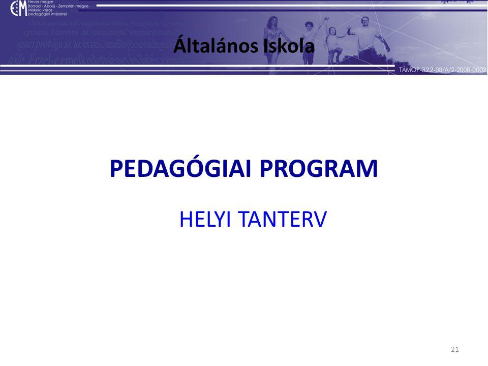 21 Általános Iskola PEDAGÓGIAI PROGRAM HELYI TANTERV