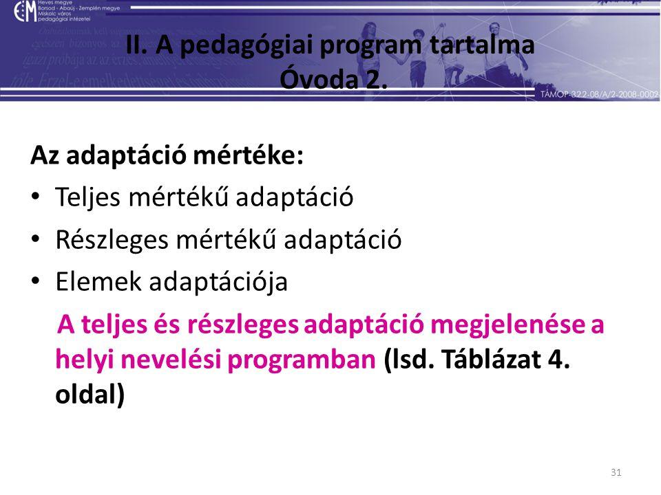 31 II. A pedagógiai program tartalma Óvoda 2. Az adaptáció mértéke: Teljes mértékű adaptáció Részleges mértékű adaptáció Elemek adaptációja A teljes é