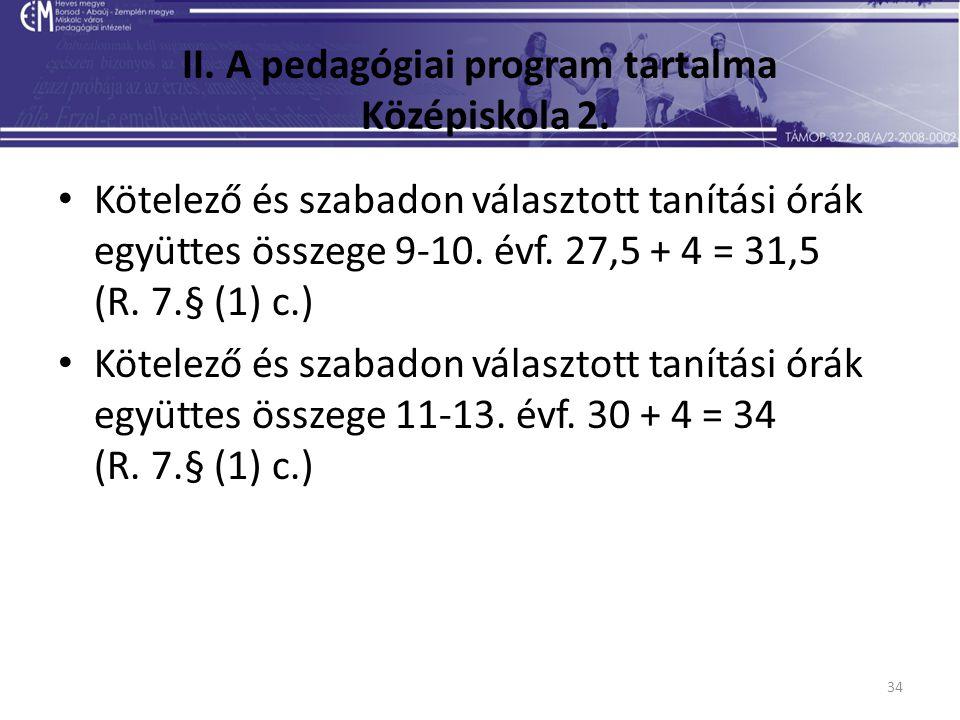 34 II. A pedagógiai program tartalma Középiskola 2. Kötelező és szabadon választott tanítási órák együttes összege 9-10. évf. 27,5 + 4 = 31,5 (R. 7.§
