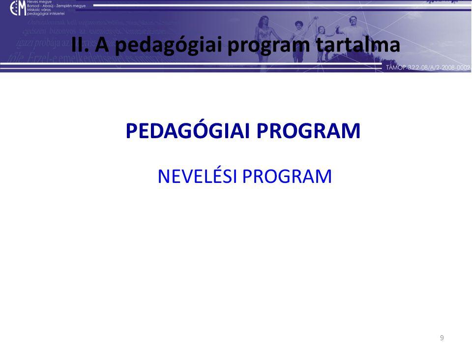 9 II. A pedagógiai program tartalma PEDAGÓGIAI PROGRAM NEVELÉSI PROGRAM