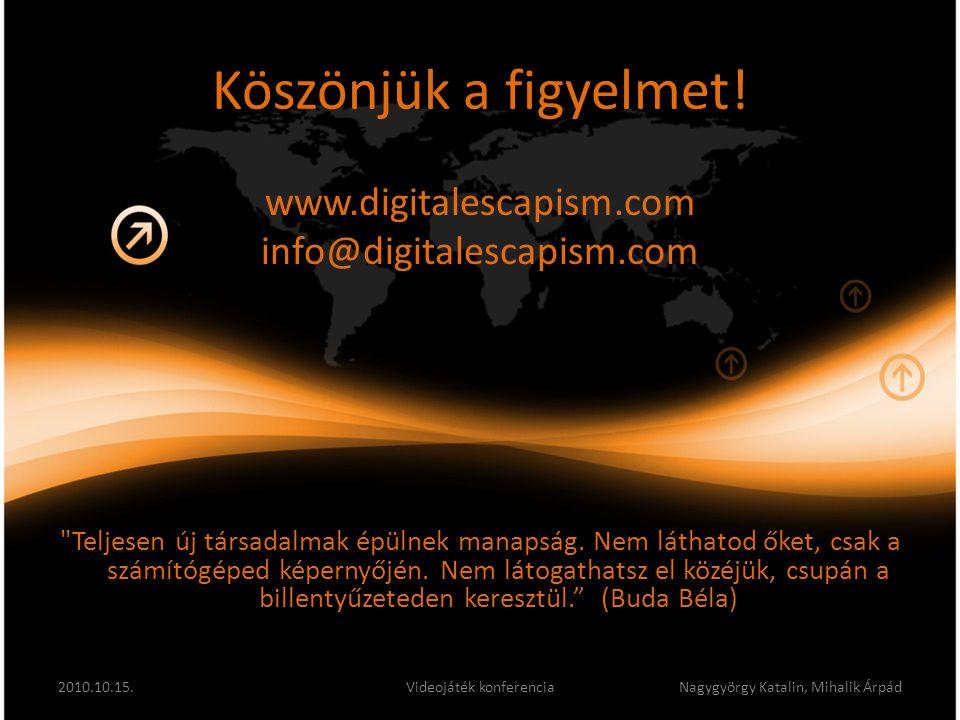 Köszönjük a figyelmet! www.digitalescapism.com info@digitalescapism.com