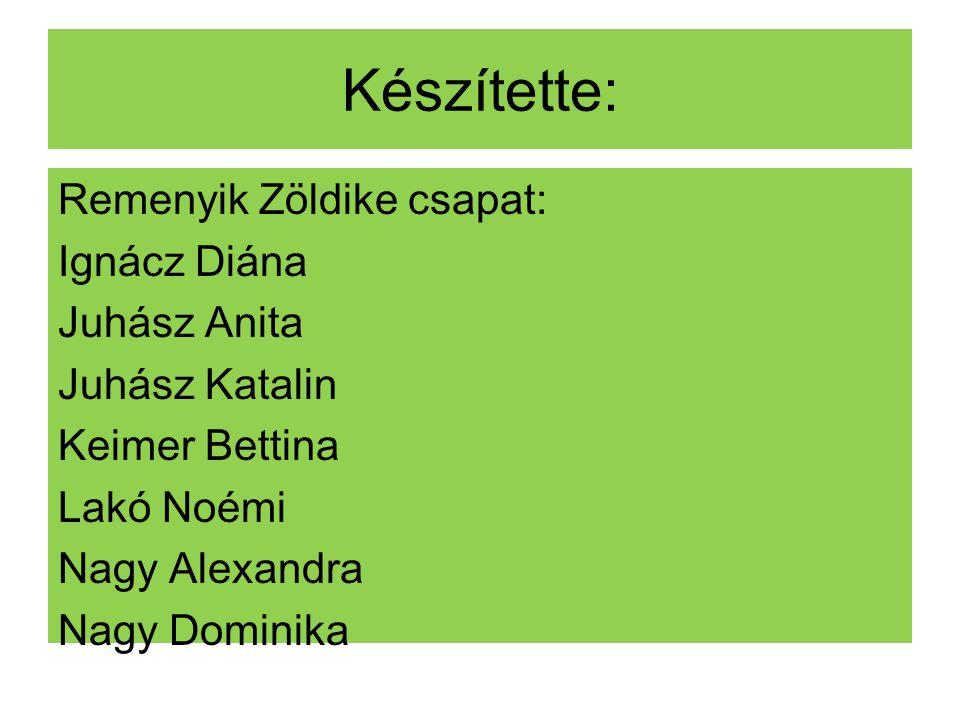 Készítette: Remenyik Zöldike csapat: Ignácz Diána Juhász Anita Juhász Katalin Keimer Bettina Lakó Noémi Nagy Alexandra Nagy Dominika