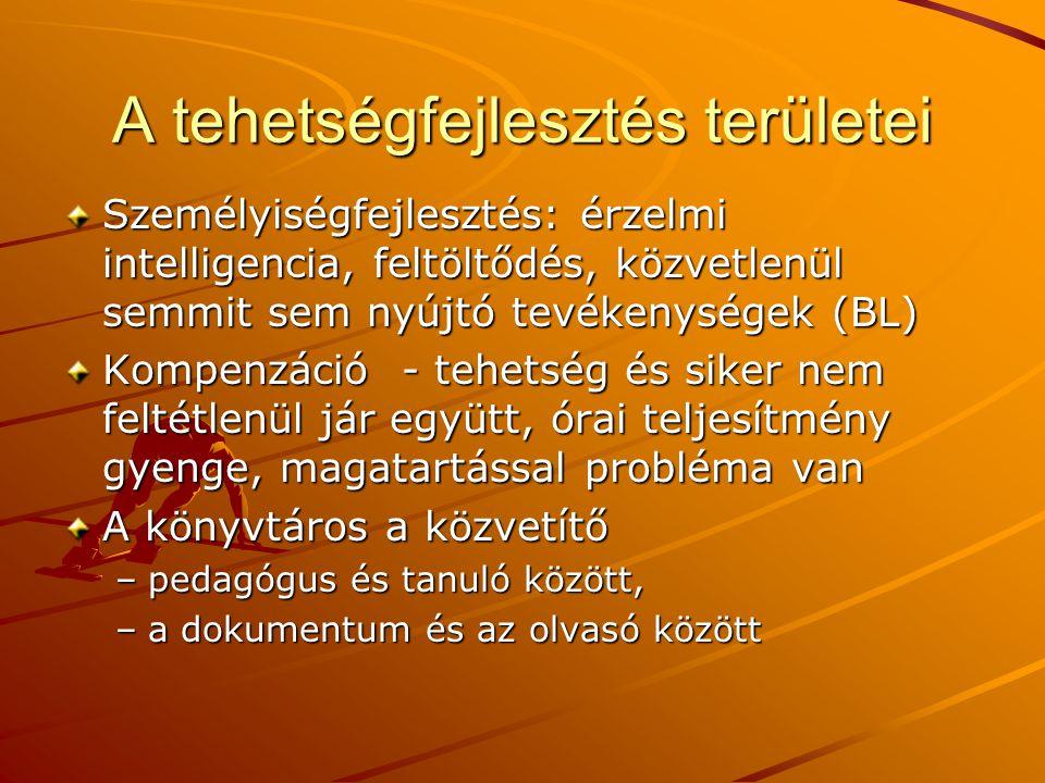 A tehetségfejlesztés területei Személyiségfejlesztés: érzelmi intelligencia, feltöltődés, közvetlenül semmit sem nyújtó tevékenységek (BL) Kompenzáció