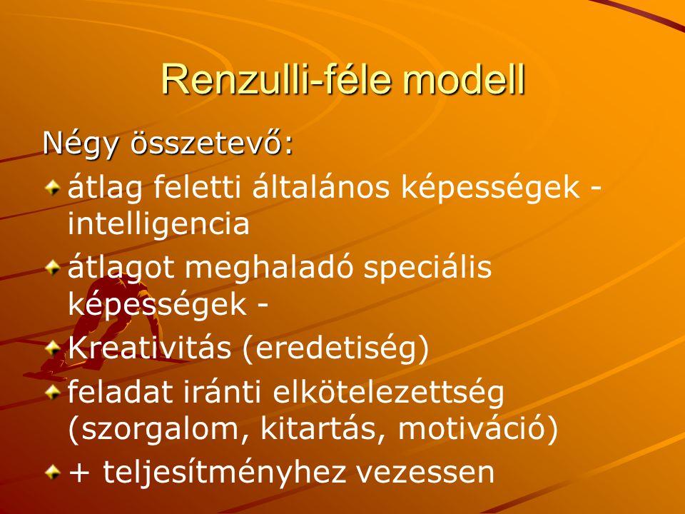 Renzulli-féle modell Négy összetevő: átlag feletti általános képességek - intelligencia átlagot meghaladó speciális képességek - Kreativitás (eredetis