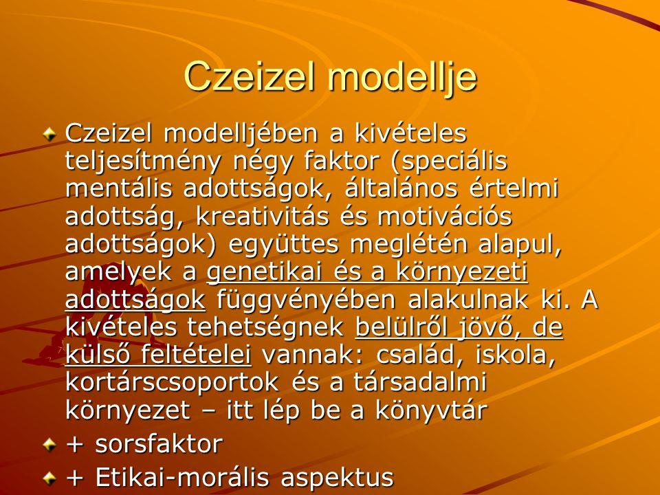 Czeizel modellje Czeizel modelljében a kivételes teljesítmény négy faktor (speciális mentális adottságok, általános értelmi adottság, kreativitás és m