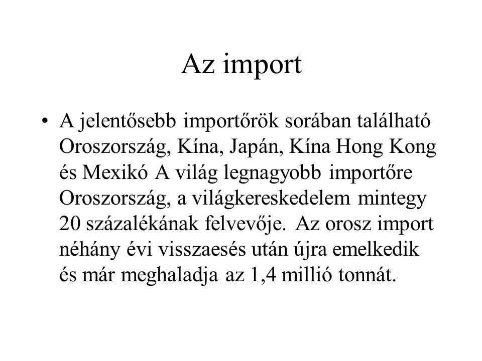 Az import A jelentősebb importőrök sorában található Oroszország, Kína, Japán, Kína Hong Kong és Mexikó A világ legnagyobb importőre Oroszország, a világkereskedelem mintegy 20 százalékának felvevője.