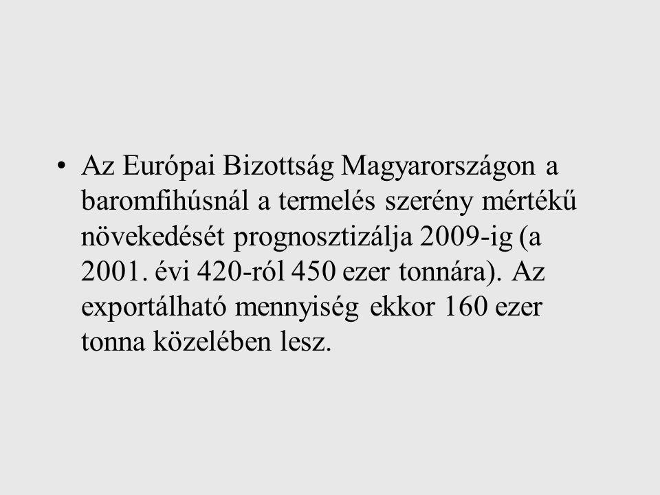 Az Európai Bizottság Magyarországon a baromfihúsnál a termelés szerény mértékű növekedését prognosztizálja 2009-ig (a 2001. évi 420-ról 450 ezer tonná