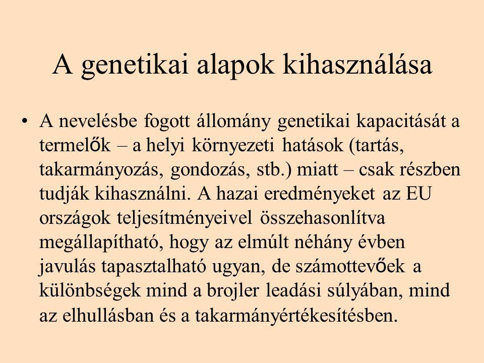 A genetikai alapok kihasználása A nevelésbe fogott állomány genetikai kapacitását a termel ő k – a helyi környezeti hatások (tartás, takarmányozás, go