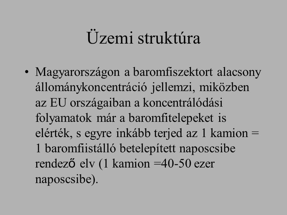 Üzemi struktúra Magyarországon a baromfiszektort alacsony állománykoncentráció jellemzi, miközben az EU országaiban a koncentrálódási folyamatok már a baromfitelepeket is elérték, s egyre inkább terjed az 1 kamion = 1 baromfiistálló betelepített naposcsibe rendez ő elv (1 kamion =40-50 ezer naposcsibe).