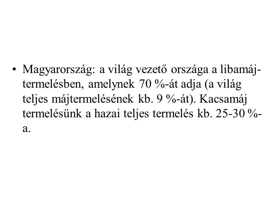 Magyarország: a világ vezető országa a libamáj- termelésben, amelynek 70 %-át adja (a világ teljes májtermelésének kb. 9 %-át). Kacsamáj termelésünk a