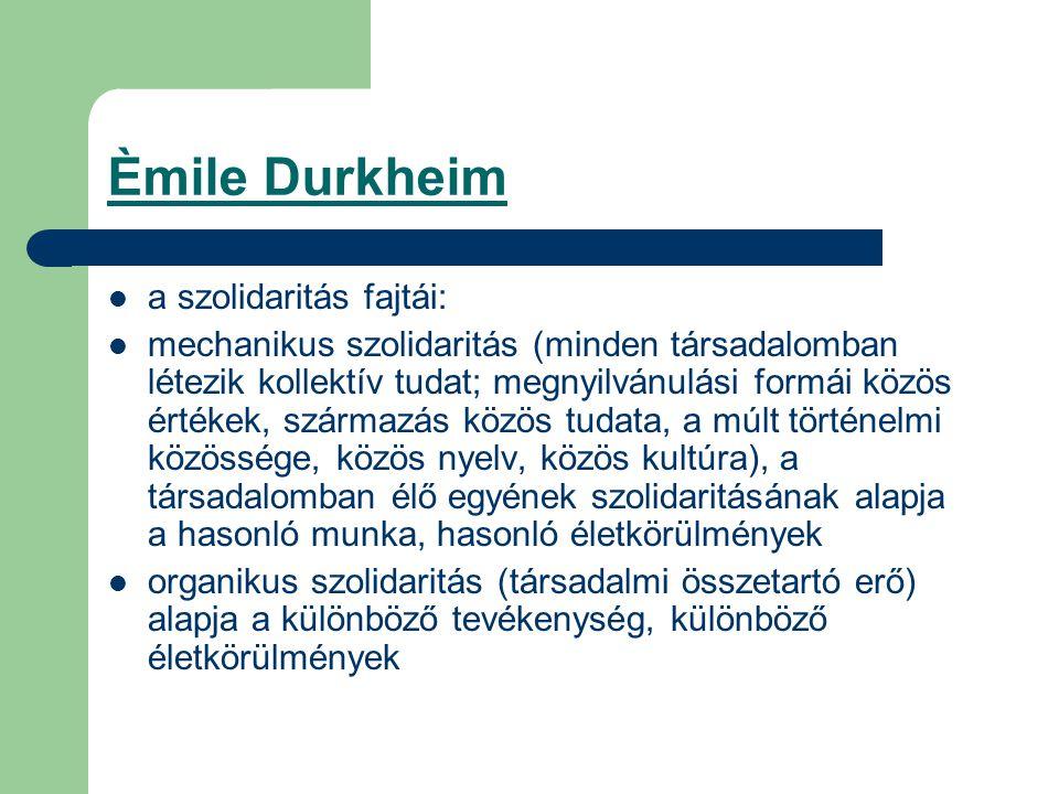 Èmile Durkheim a szolidaritás fajtái: mechanikus szolidaritás (minden társadalomban létezik kollektív tudat; megnyilvánulási formái közös értékek, származás közös tudata, a múlt történelmi közössége, közös nyelv, közös kultúra), a társadalomban élő egyének szolidaritásának alapja a hasonló munka, hasonló életkörülmények organikus szolidaritás (társadalmi összetartó erő) alapja a különböző tevékenység, különböző életkörülmények