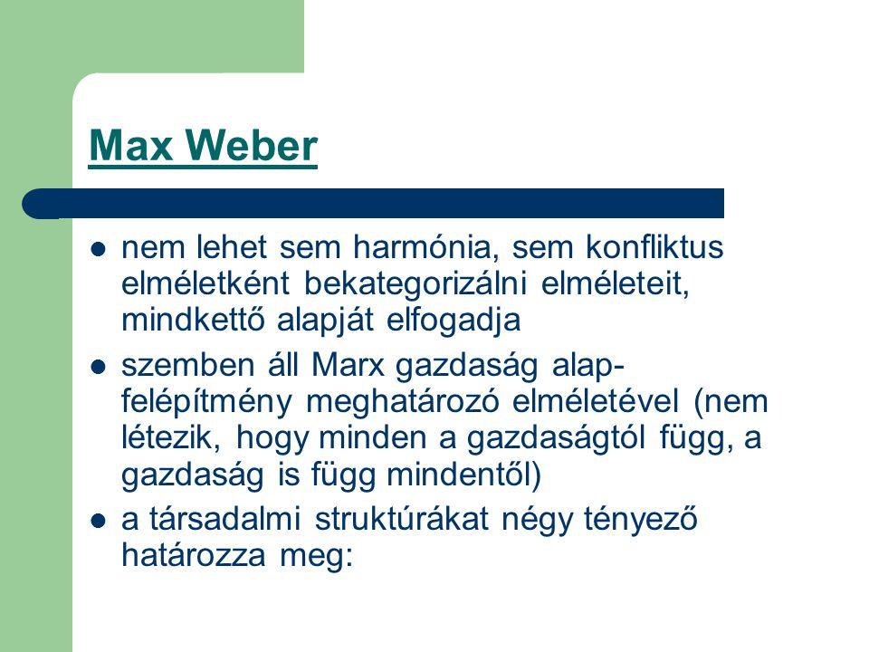 Max Weber nem lehet sem harmónia, sem konfliktus elméletként bekategorizálni elméleteit, mindkettő alapját elfogadja szemben áll Marx gazdaság alap- felépítmény meghatározó elméletével (nem létezik, hogy minden a gazdaságtól függ, a gazdaság is függ mindentől) a társadalmi struktúrákat négy tényező határozza meg: