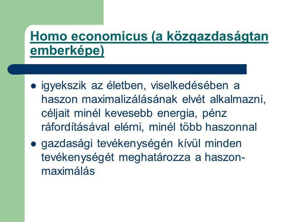 Homo economicus (a közgazdaságtan emberképe) igyekszik az életben, viselkedésében a haszon maximalizálásának elvét alkalmazni, céljait minél kevesebb energia, pénz ráfordításával elérni, minél több haszonnal gazdasági tevékenységén kívül minden tevékenységét meghatározza a haszon- maximálás