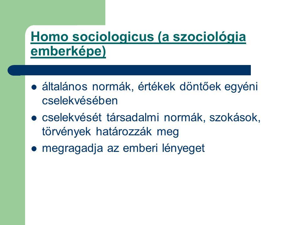Homo sociologicus (a szociológia emberképe) általános normák, értékek döntőek egyéni cselekvésében cselekvését társadalmi normák, szokások, törvények határozzák meg megragadja az emberi lényeget