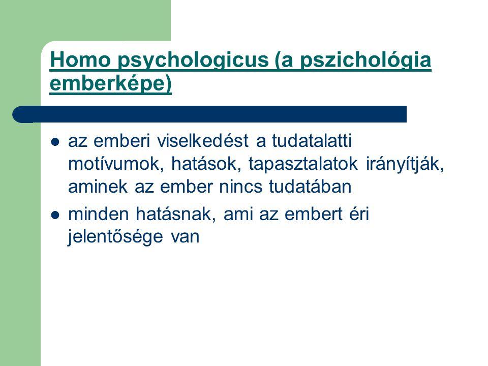 Homo psychologicus (a pszichológia emberképe) az emberi viselkedést a tudatalatti motívumok, hatások, tapasztalatok irányítják, aminek az ember nincs tudatában minden hatásnak, ami az embert éri jelentősége van