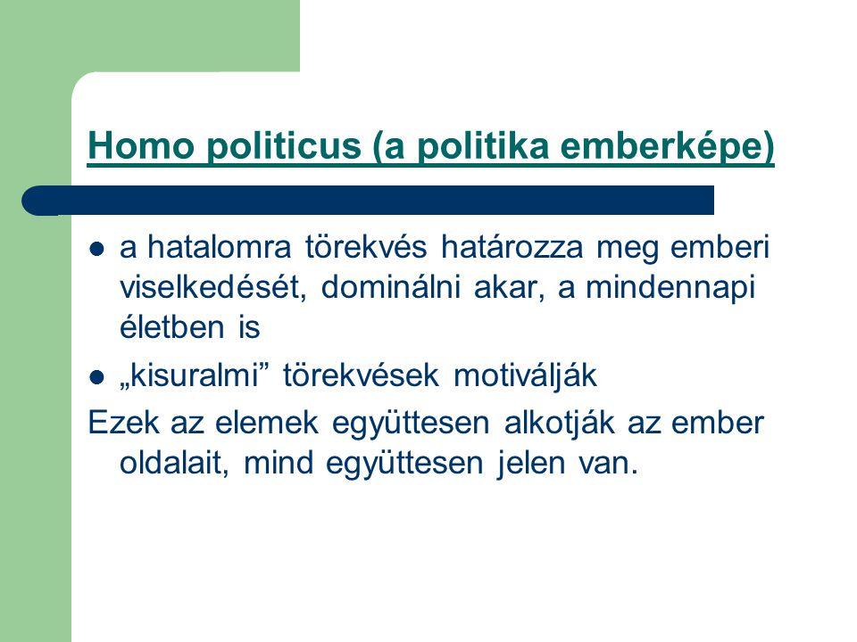 """Homo politicus (a politika emberképe) a hatalomra törekvés határozza meg emberi viselkedését, dominálni akar, a mindennapi életben is """"kisuralmi törekvések motiválják Ezek az elemek együttesen alkotják az ember oldalait, mind együttesen jelen van."""