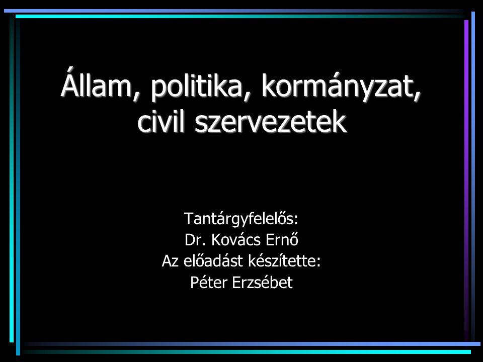 Állam, politika, kormányzat, civil szervezetek Tantárgyfelelős: Dr.