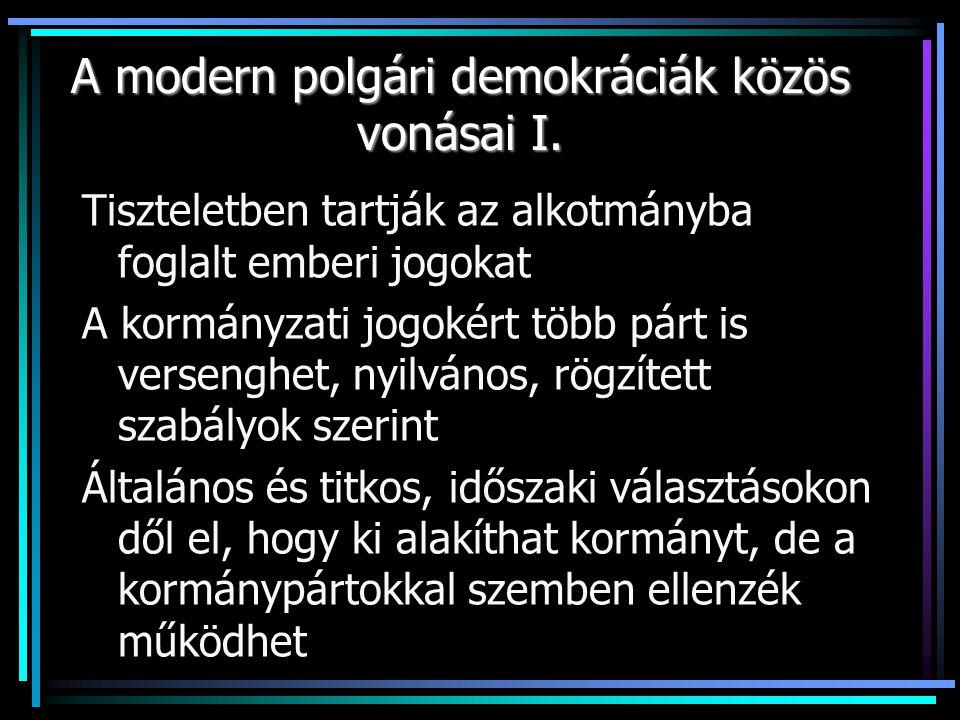 A modern polgári demokráciák közös vonásai I.