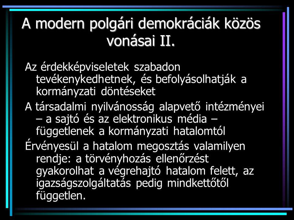 A modern polgári demokráciák közös vonásai II.