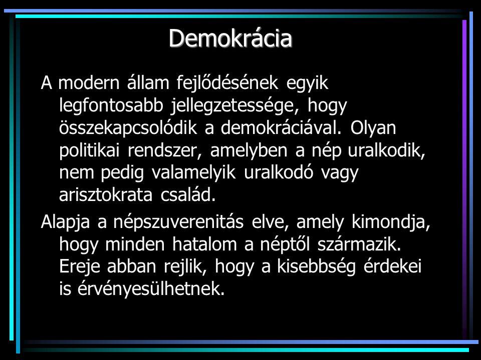 Demokrácia A modern állam fejlődésének egyik legfontosabb jellegzetessége, hogy összekapcsolódik a demokráciával.