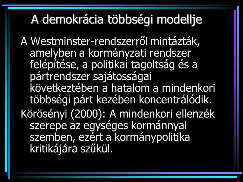 A demokrácia többségi modellje A Westminster-rendszerről mintázták, amelyben a kormányzati rendszer felépítése, a politikai tagoltság és a pártrendszer sajátosságai következtében a hatalom a mindenkori többségi párt kezében koncentrálódik.