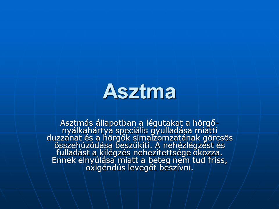 Asztma Asztmás állapotban a légutakat a hörgő- nyálkahártya speciális gyulladása miatti duzzanat és a hörgők simaizomzatának görcsös összehúzódása beszűkíti.