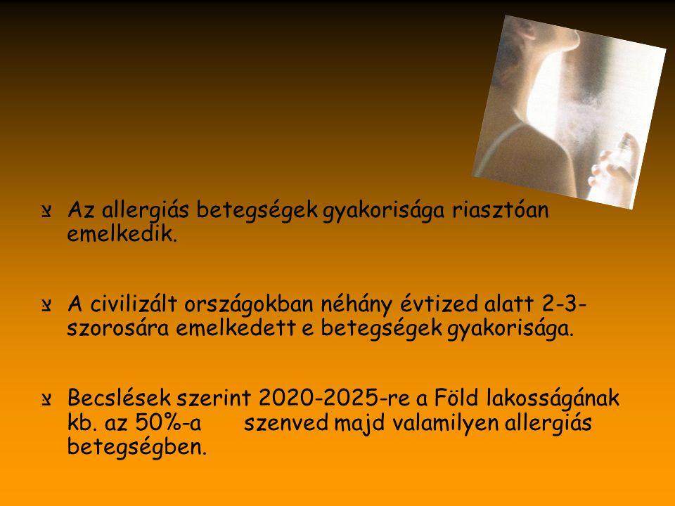 Az allergiás betegségek kialakulását elősegítő tényezők צּ Dohányzás צּ Korai tehéntejtáplálás צּ Korai allergén-expozíció צּ Penész, magas páratartalom a lakásban צּ Diesel motorizációs levegőszennyeződés צּ Kis létszámú család צּ Korai vírus infekciók
