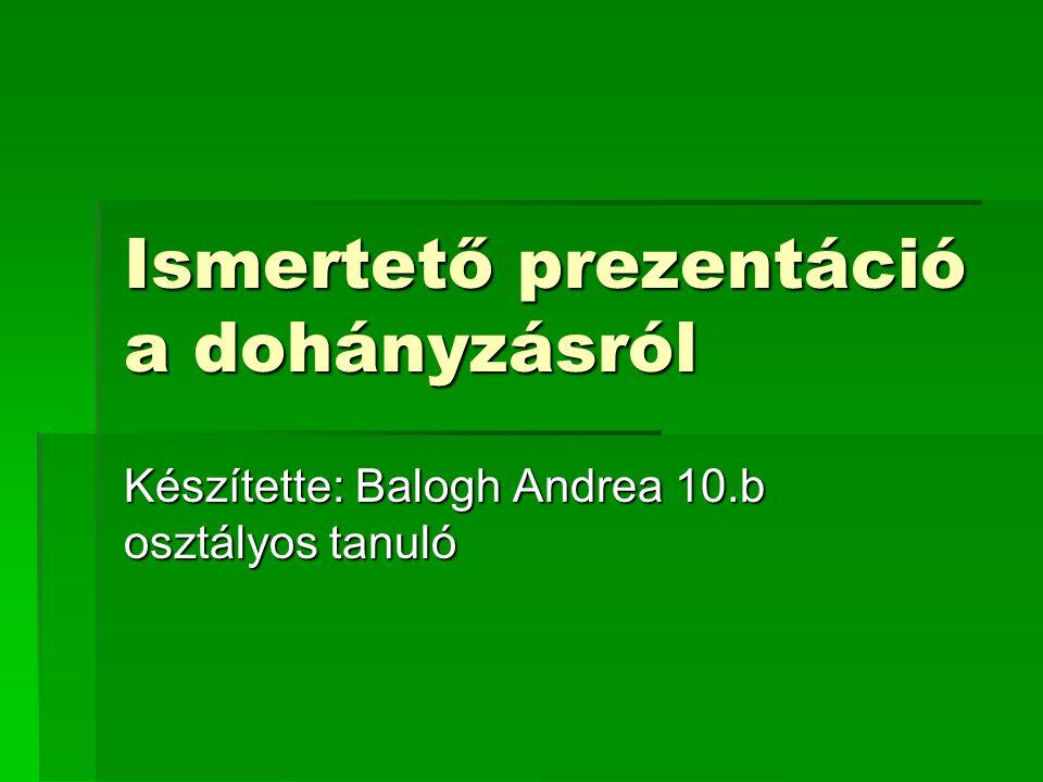 Ismertető prezentáció a dohányzásról Készítette: Balogh Andrea 10.b osztályos tanuló