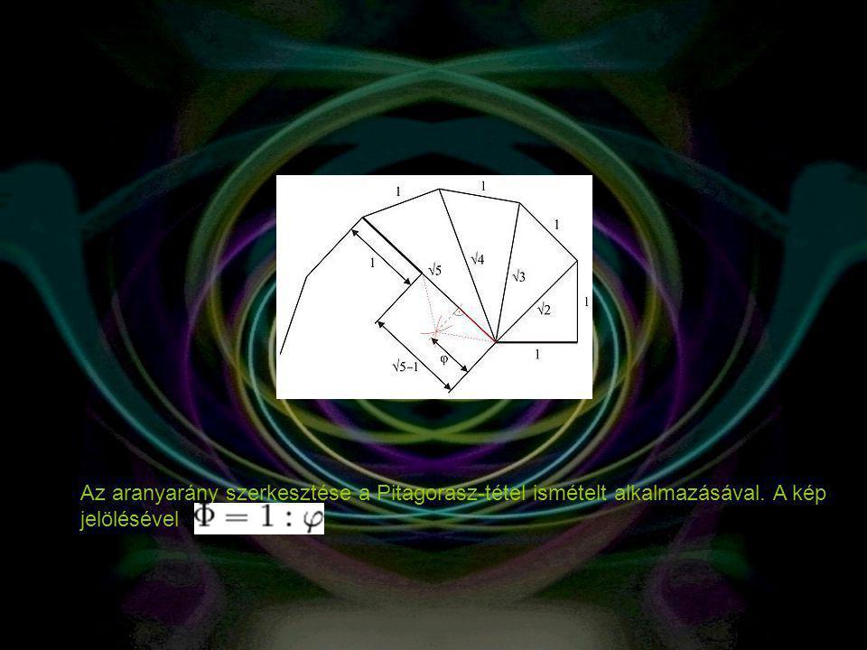 Az aranyarány szerkesztése a Pitagorasz-tétel ismételt alkalmazásával. A kép jelölésével