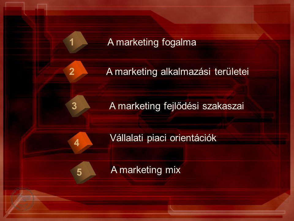 A marketing fogalma1 2 A marketing fejlődési szakaszai3 Vállalati piaci orientációk 4 A marketing alkalmazási területei 5 A marketing mix