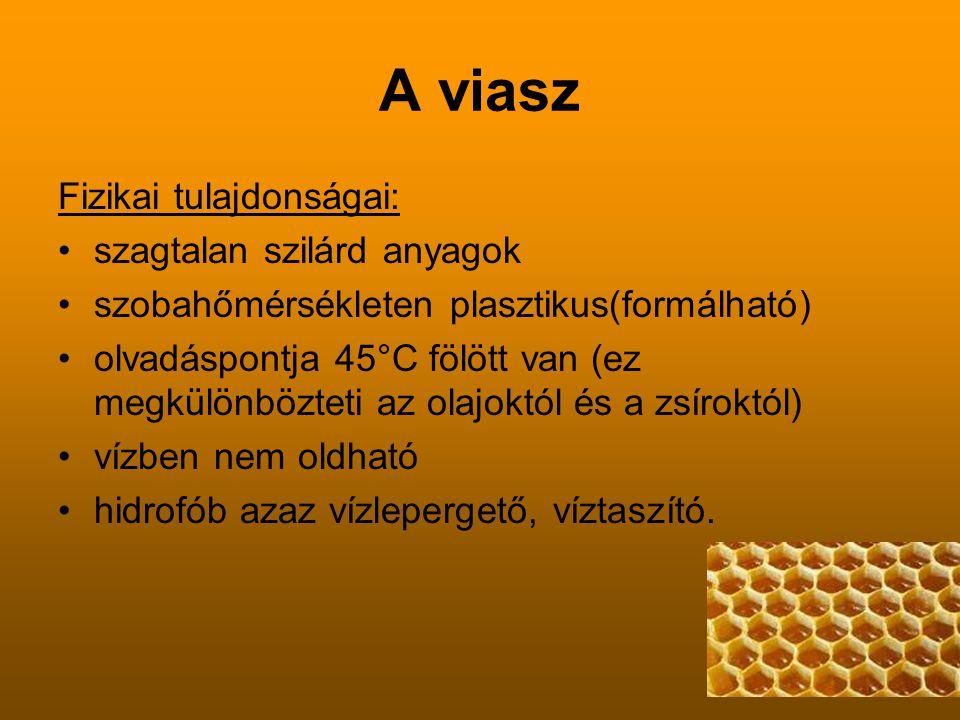 A viasz Fizikai tulajdonságai: szagtalan szilárd anyagok szobahőmérsékleten plasztikus(formálható) olvadáspontja 45°C fölött van (ez megkülönbözteti a